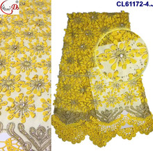 2017 Thanksgiving Day must order CL61172-4 french embroidery lace fabric with stones wedding dress lace fabric