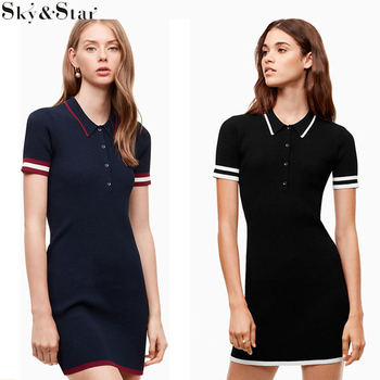 Casual black bodycon short sleeves sport plain knitted dresses women