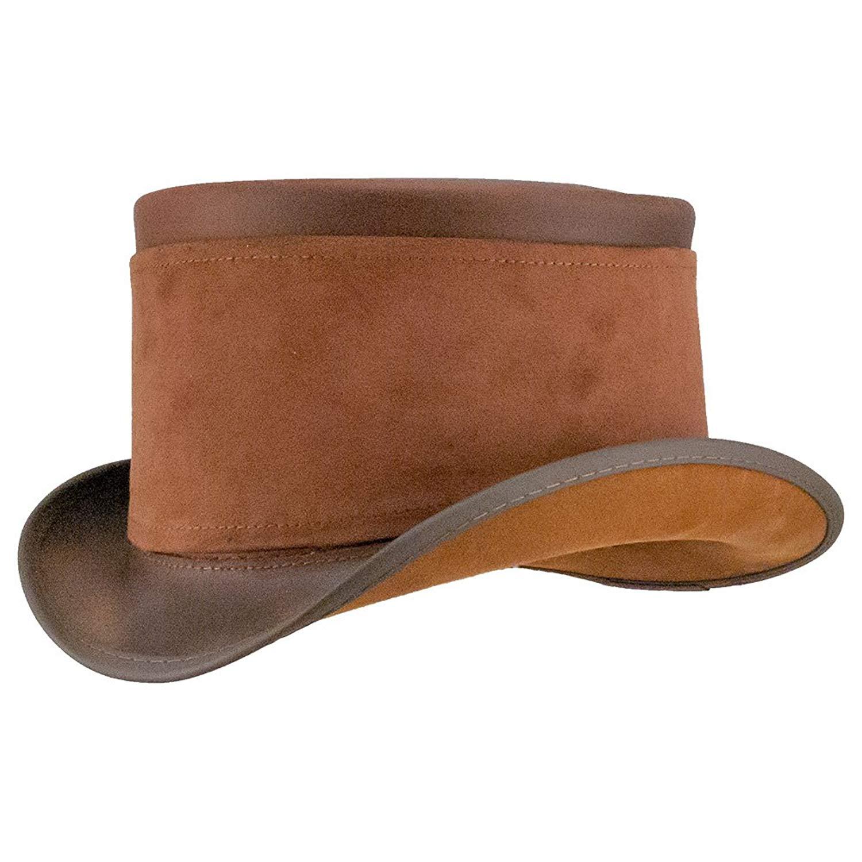 13.5cm Steampunk Top Hat Handmade Leather Wool Fedoras Hat Cylinder Hat Chimne Cap Red