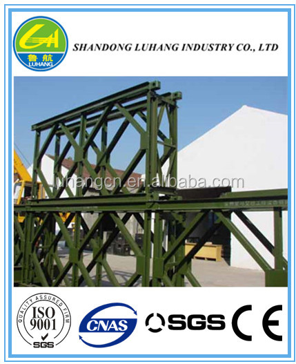 single lane double trusses bailey bridge HD 200, reinforced steel galvanized for vehicles passing