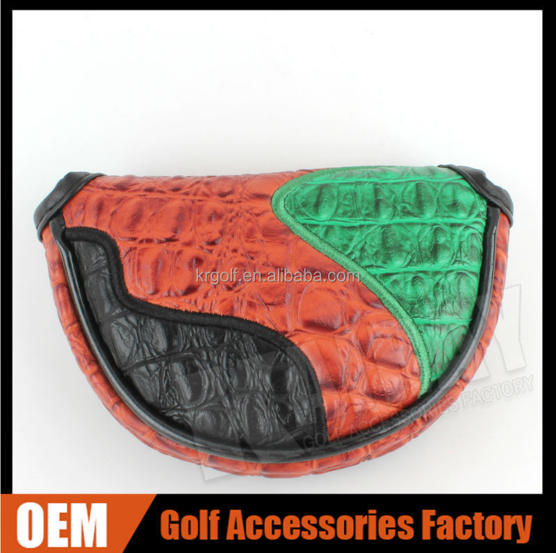 OEM Innovative PU leather mixed color Magnet Closure Mallet Golf Putter Cover Headcover