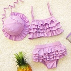 3 Pcs Hat/Bra and Shorts Baby Girl Bikini Solid Color Swimwear with Lace Halter Hat Beach Split-Type Swimsuit