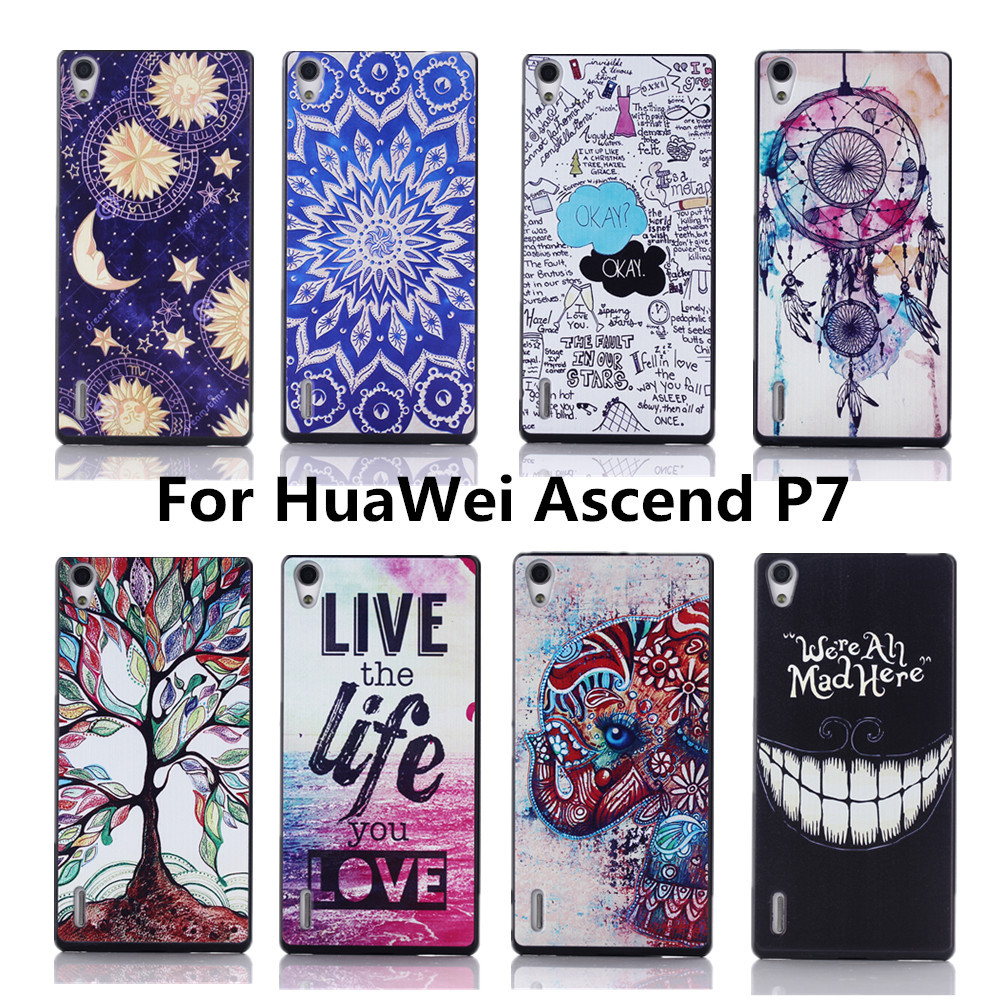 newest 2927b 9ba14 Luxury Painting PC High Quality Hard Cover Case For Huawei Ascend P7 Back  Cases Wholesales
