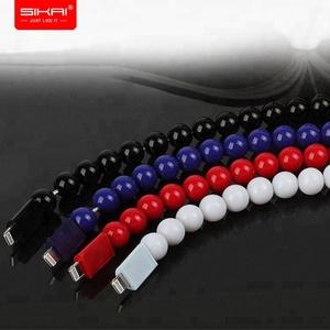 SIKAI Multi-function creative portable charger bracelet buddha beads bracelet charging usb data cable