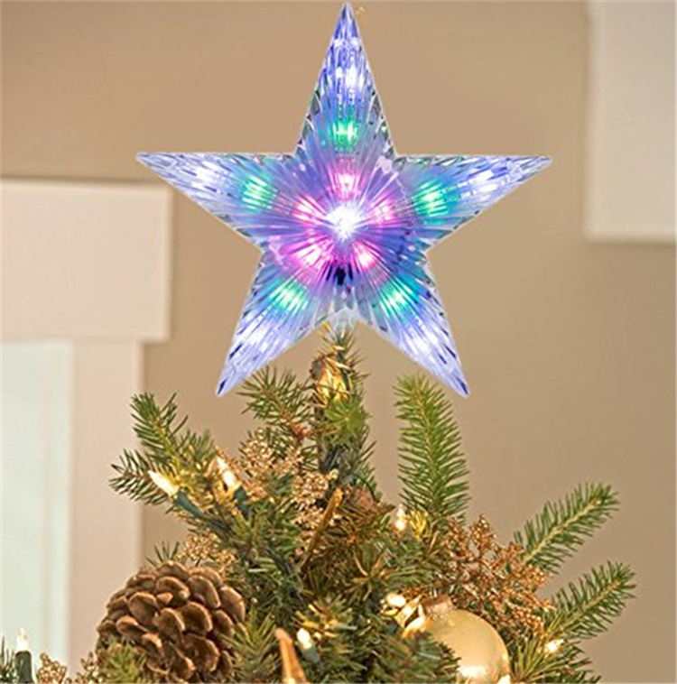 Battery Powered Acrylic Christmas Star Tree Topper Flashing Led Light