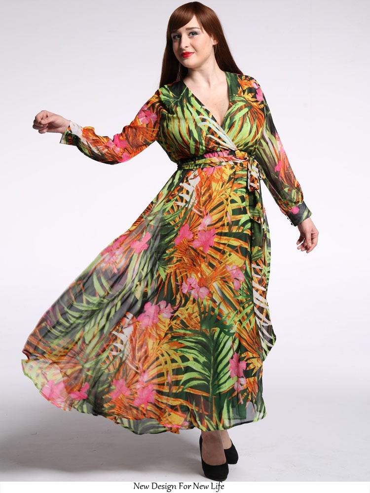 Long Sleeve Floral Print Maxi Dress Plus Size Muslim Women Clothing - Buy Long  Sleeve Maxi Dress f352b3bef