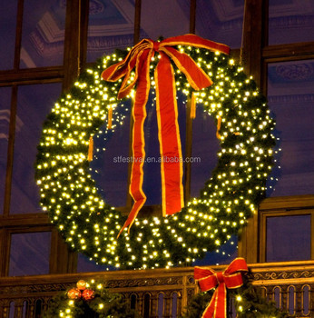 Outdoor Led Light Huge Christmas Wreath For Ping Centre