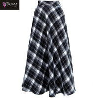 Europe and America Women Fashion Autumn Winter High Waist Big Bottom A Line Elegant Long Woolen Skirt Casual Plaid Skirt