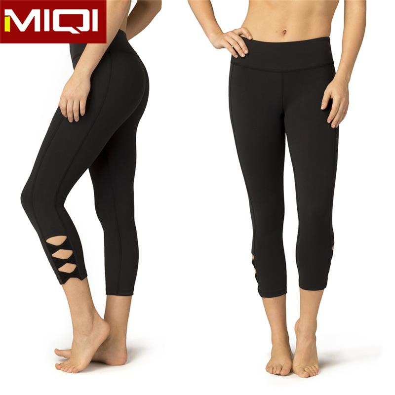 Cutout sexy supplex yoga leggings with custom logo for women fitness wear