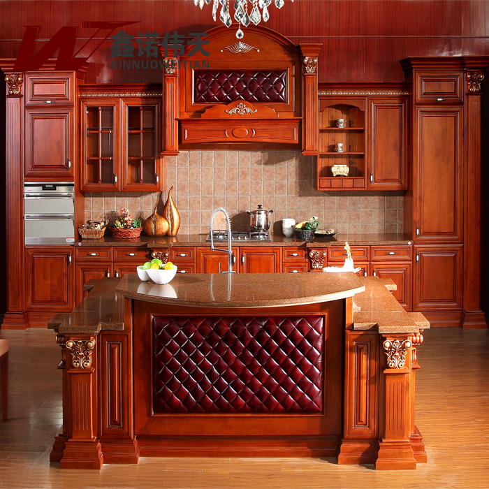 Red Oak Kitchen Cabinets: American Red Oak Solid Wood Kitchen Cabinet Luxury Fashion