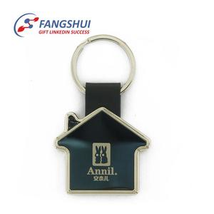 Latest design fashion simple custom house shape keyring key chain home keychains