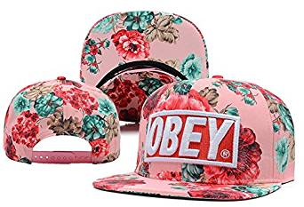 Get Quotations · Red Obey Floral Biggest Fan Redux Snapback With Pom f5742fa87233