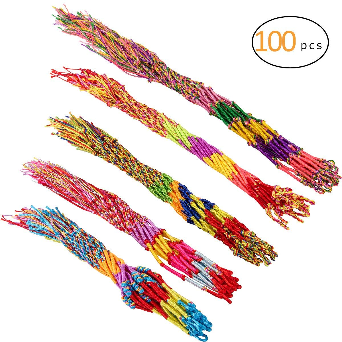 Cosweet Braided Friendship Cords-100PCS 5 Colors Handmade Assorted Strand Wrist Colorful Thread Bracelet for Wrist Anklet