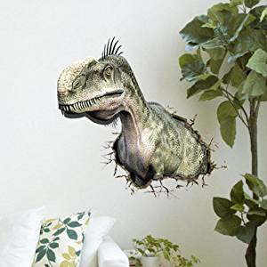 3D Wall Sticker Decal Kids Room Mural cartoon animation Removable Home Decal Home Decor Dinosaur through wall