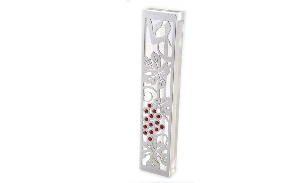 Dorit Judaica Mezuzah Case MZN-2B for 12cm scroll Perspex base cut out Stainless Steel with Swarovski Stones