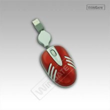 Wine Red retractable wired optical mouse in crab shape