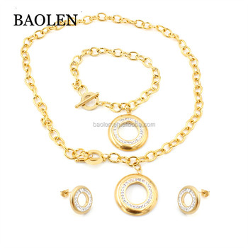 Wide Chain Jewelry Sets Stainless Steel Round Can Engrave Logo Charm Bracelet Necklace Earrings Bridal Jewelry Set