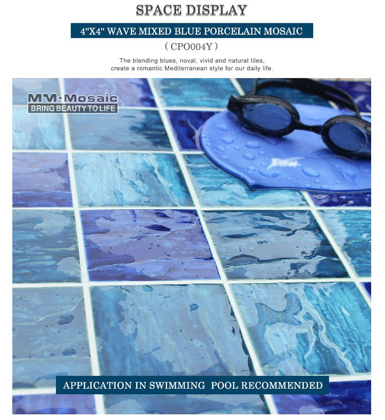 4 Square Dark Blue Decorative Porcelain Mosaic Tile For