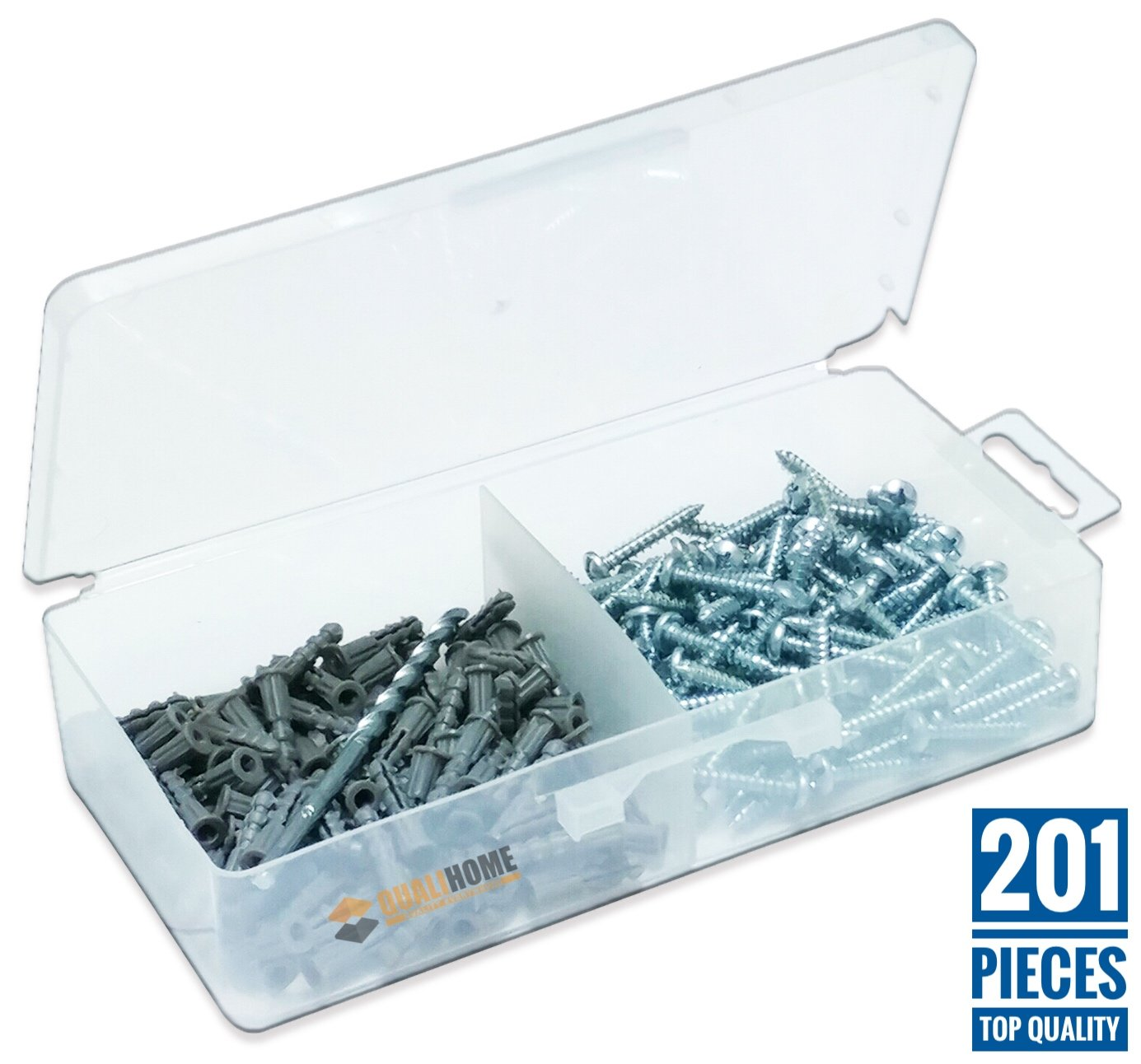 Ribbed Plastic Drywall Anchor Kit with Screws and Masonry Drill Bit, #6-8 x 7/8""