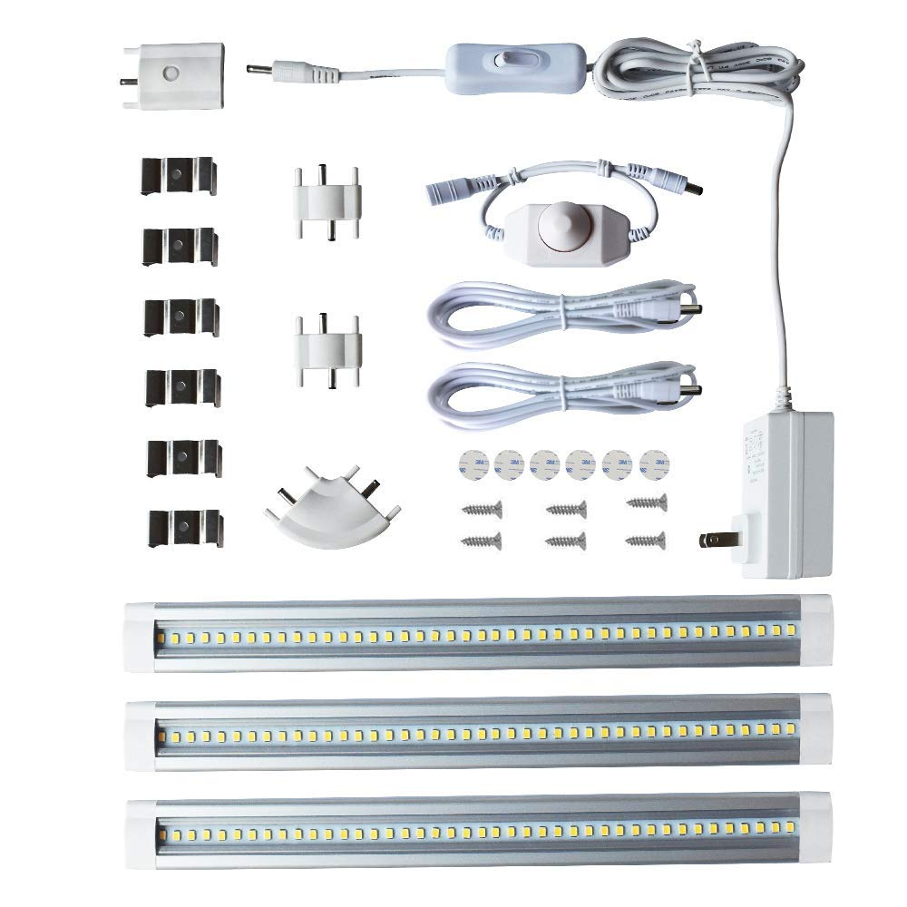 LAMPAOUS LED Under Cabinet Lighting, Closet Lighting, Shelf Lighting,Dimmable Under Counter Lighting, 12W 900 Lumens, Cool White 6000K Kitchen Cabinet Strip Lights Pack of 3 (Cool White 6000K)