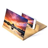 3D Mobile Phone Screen Magnifier Stereoscopic Amplifying Desktop Wood Bracket Wooden Video Holder Stand