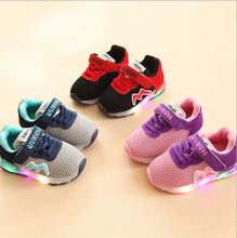 Mesh shoes breathable Baby Sports LED Shoes Child Tennis shoes
