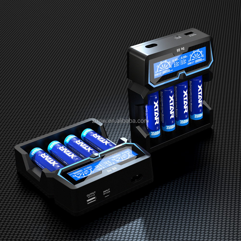 Best Selling Products 2018 X4 AC/DC dual powered 4 bays 18650 21700 battery charger max 2A fast charger with USB output