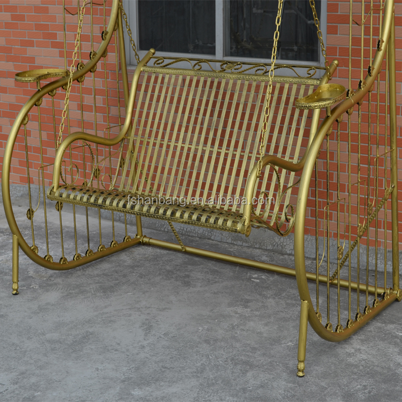 Outdoor Patio Balcony Adults Metal Porch Wrought Iron Swing Chair Frame Sets
