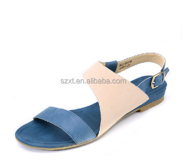 Latest Fashion Women Flat Sandals Shoes Girls Contrast Colors ...