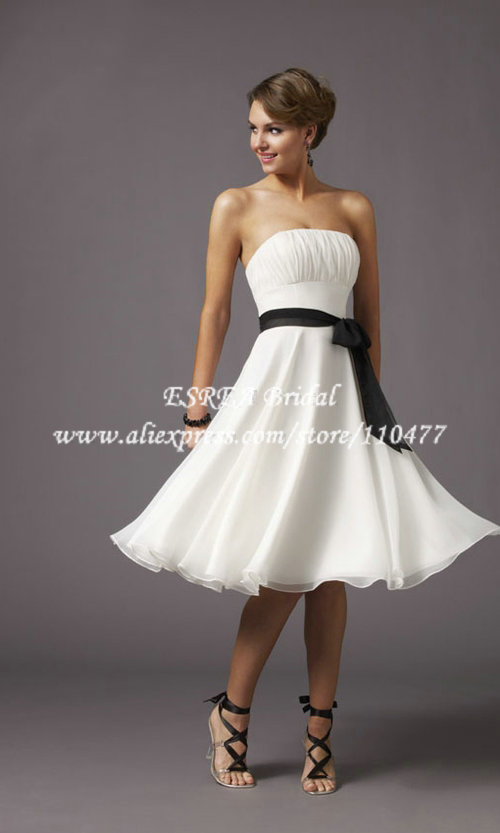 wholesale strapless cheap simple short wedding dress white and black sash twx056 under 100 in. Black Bedroom Furniture Sets. Home Design Ideas