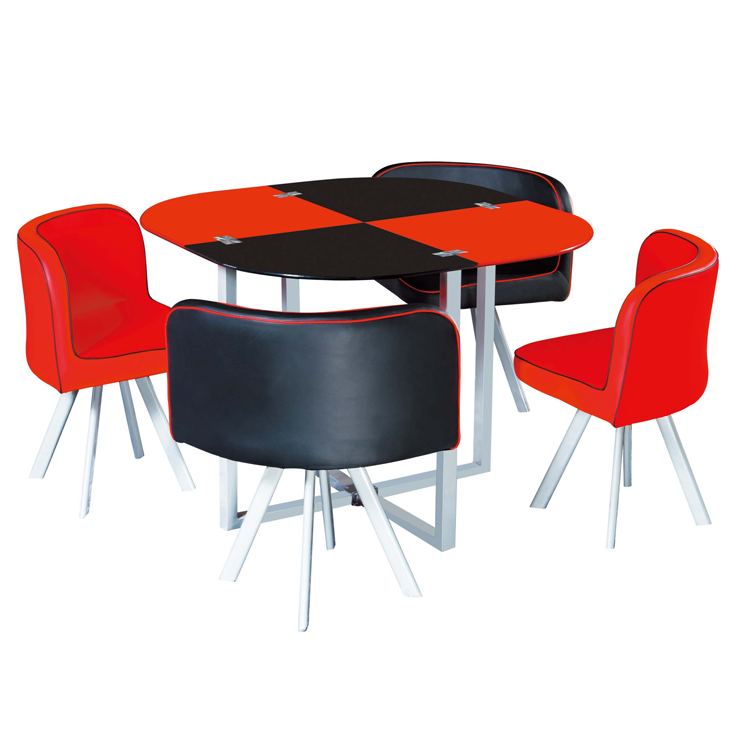 European Style Space Saving Modern Cheap Dining Room Set 1 Table+4 Chairs  Glass Black And Red Coffee Table - Buy Coffee Table Set,Table+4 Chairs,Red  ...