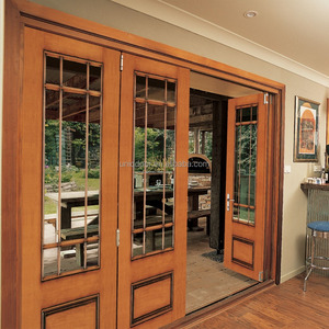 Lobby Entrance Door, Wood Patio Sliding French Folding Door With Clear Frosted Tempered Glass Panel
