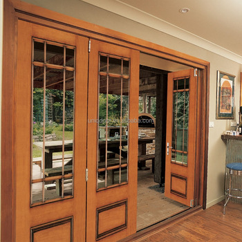 Lobby Entrance Door,Wood Patio Sliding French Folding Door With ...