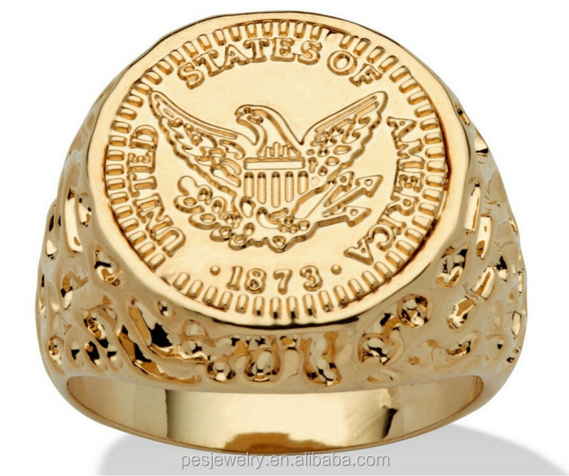 Mens jewelry 14k gold plated sporty Champion Coin Ring wholesale(PES5-138)