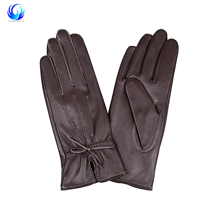 Women's Genuine Nappa Leather Winter Warm Gloves Classical White Lines with Bows
