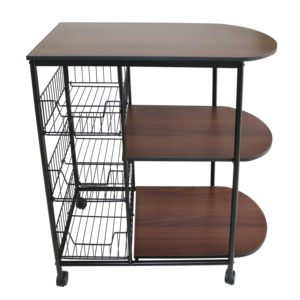 3 layer portable metal kitchen storage shelf / rack modern design