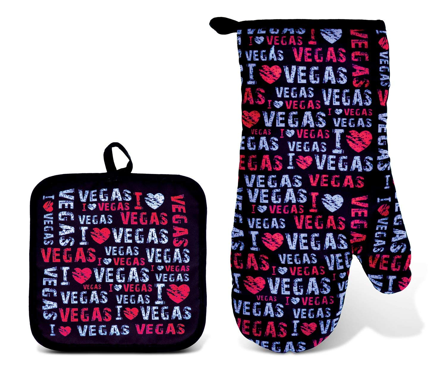 Puzzled Pot Holder & Oven Mitt Set I Love Vegas Kitchen Accessory Potholder Heat Resistant Non-Slip Grip Cooking Glove Machine Washable Baking Grilling BBQ Decorative Novelty Polyester Mitten Pink