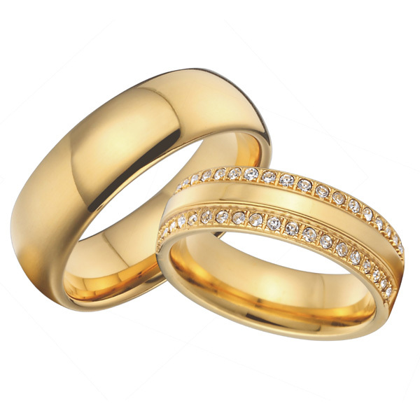 custom titanium jewelry cz diamond cubic zirconia wedding bands promise rings sets 18k gold plated alliance