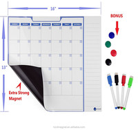 "New Monthly Magnetic Calendar Dry Erase Whiteboard Magnetic Planner for Refrigerator 3 markers Size 16""*12"""