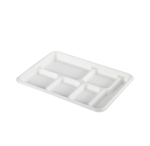 Biodegradable food container 6-compartment paper take away tray
