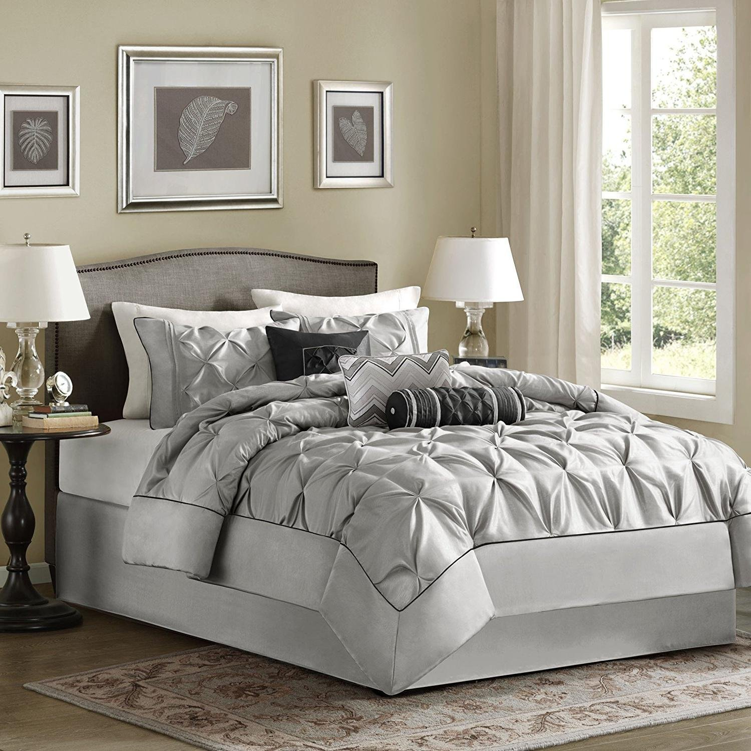 OSD 7pc Silver Grey Puckered Comforter Queen Set, Polyester Polyoni, Gray Pintuck Solid Color Adult Bedding Master Bedroom Modern Stylish Textured Tufted Pattern Classic Elegant Themed Traditional