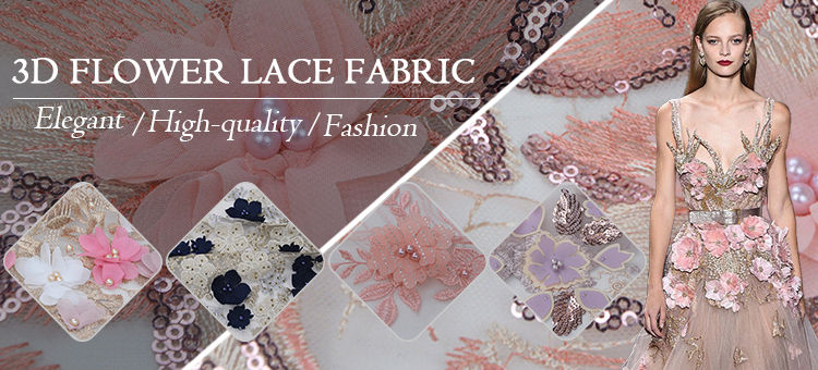 In stocks flower tulle lace beaded sequin embroidery fabric for dress making