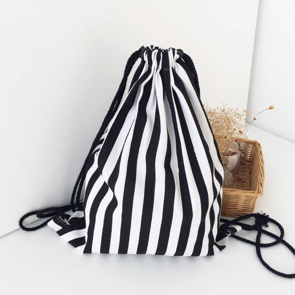 Classical <strong>design</strong> black and white stripes drawstring bag, canvas bag