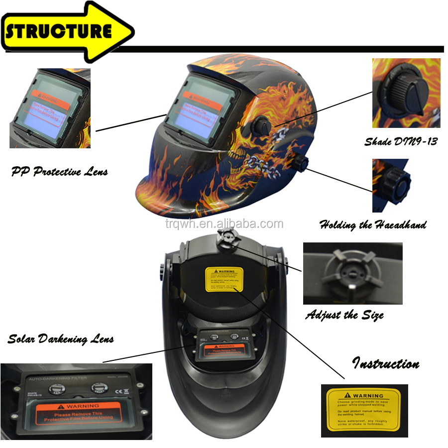 factory price industrial focus high quality face solar auto darkening welding helmet