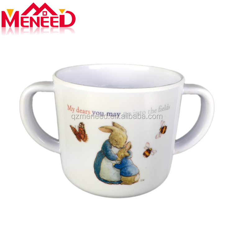 Kids use safe food grade melamine milk cup with two handles