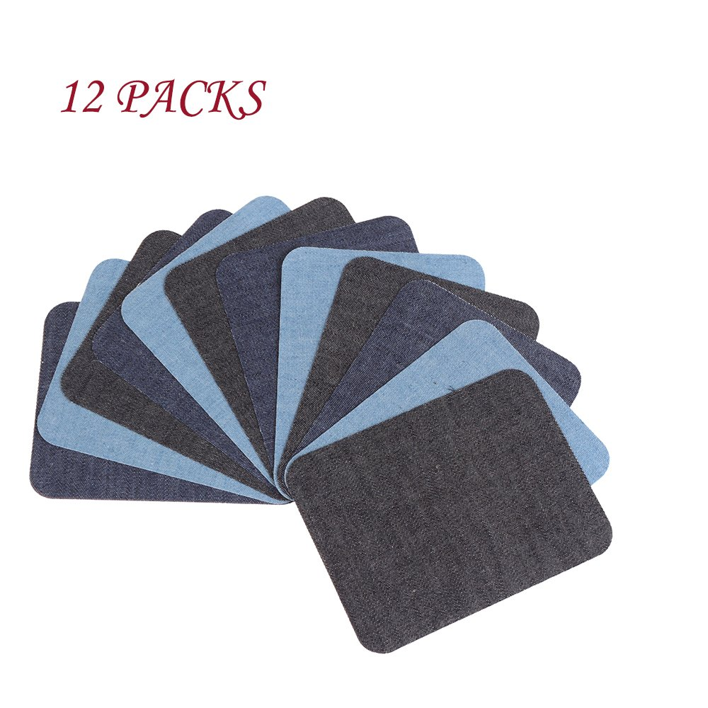12 Packs Iron On Jean Patches with 3 Assorted Colors,4 Pcs per Colors No-Sew Iron-On Cotton Jeans Repair Kit Denim Patches, 5x3.75 Inch/Pack