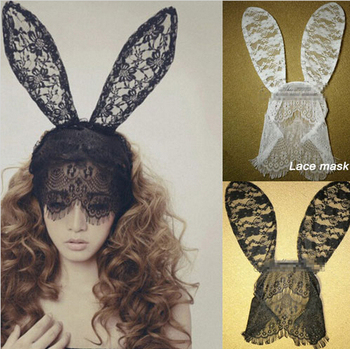 Women Party Long Bunny Ears Floral Lace Masks Headband - Buy ... 11dd4542483