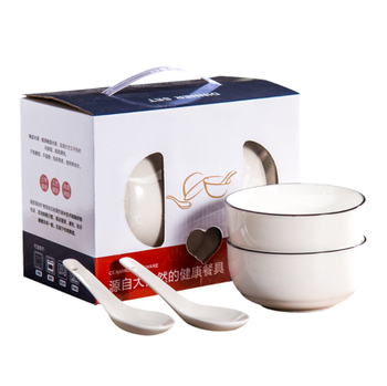 Nordic Simple 4 Bowls and 4 Spoons Ceramic Set
