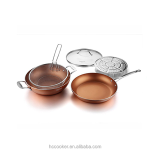 hot wok pan press aluminum ceramic coating copper wok set