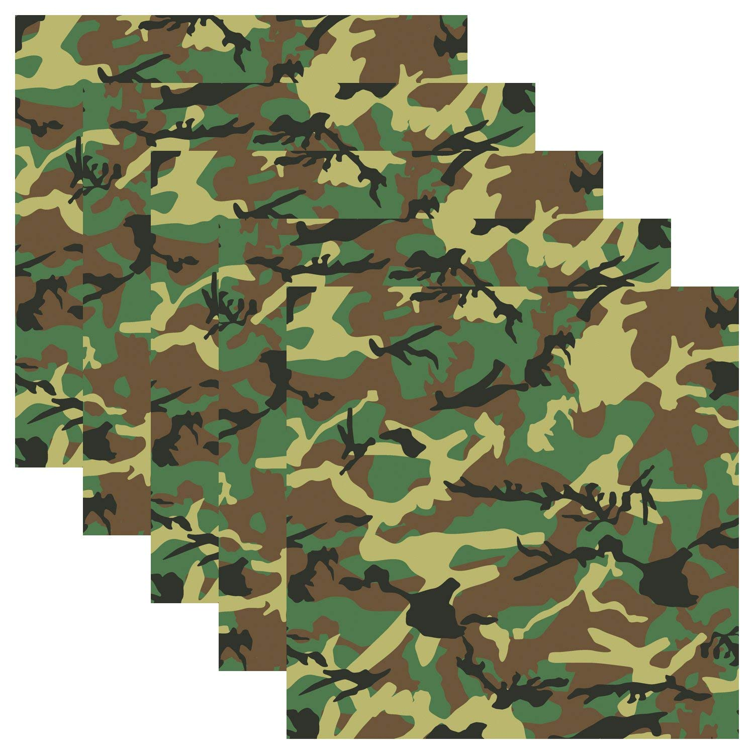 """Camouflage Self Adhesive Assorted Vinyl Sheets 12"""" x 12"""" Military Camo Permanent Adhesive Backed Vinyl for Cricut, Silhouette Cameo, Plotters, Decals and Other Craft Cutters - Army Green Pack of 5"""